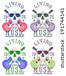skull pattern   theme music... | Shutterstock . vector #191744141