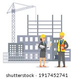 woman in uniform engineer in...   Shutterstock .eps vector #1917452741