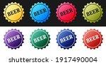 set bottle cap with beer word... | Shutterstock .eps vector #1917490004