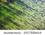 Jigsaw Puzzle. Closeup Of Green ...