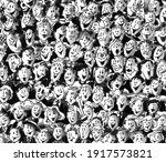 people  black and white ink... | Shutterstock . vector #1917573821