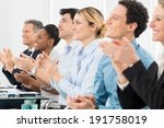 happy group of businesspeople... | Shutterstock . vector #191758019