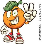 orange making the hand peace... | Shutterstock .eps vector #1917624791