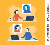 video call. two people with... | Shutterstock .eps vector #1917630887