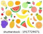 vector set of juicy summer... | Shutterstock .eps vector #1917729071