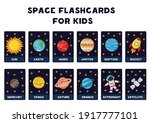 space flashcards for kids.... | Shutterstock .eps vector #1917777101