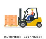 yellow forklift truck with...   Shutterstock .eps vector #1917783884
