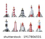 Lighthouse Vector Icons Set Of...