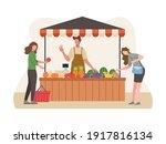 local market sell vegetables... | Shutterstock .eps vector #1917816134