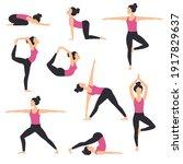 girl practicing various yoga... | Shutterstock .eps vector #1917829637