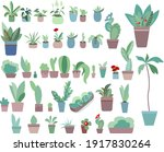 home plants in flower pots... | Shutterstock .eps vector #1917830264