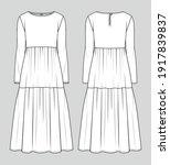 midi dress. fashion sketch.... | Shutterstock .eps vector #1917839837