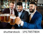 Group Of Happy Friends Drinking ...