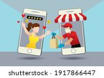 deliver man send the shopping...   Shutterstock .eps vector #1917866447