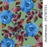 roses seamless pattern. blue... | Shutterstock . vector #191787311