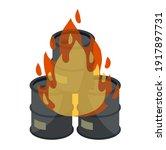 barrel of oil. burning fossil... | Shutterstock .eps vector #1917897731