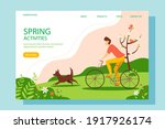 man riding a bike with a dog in ... | Shutterstock .eps vector #1917926174