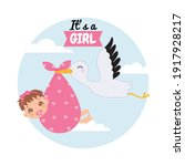 cute baby girl with pacifier...   Shutterstock .eps vector #1917928217