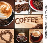 coffee collage  beans and cups... | Shutterstock . vector #191797607