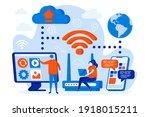 wireless technology web design... | Shutterstock .eps vector #1918015211