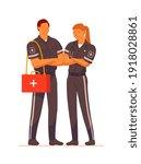 paramedic ambulance rescue team ...   Shutterstock .eps vector #1918028861