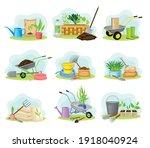garden tools and equipment with ...   Shutterstock .eps vector #1918040924