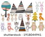 cute scandinavian style animals ... | Shutterstock . vector #1918044941