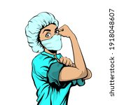 we can do it woman doctor in... | Shutterstock .eps vector #1918048607