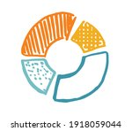 pie diagrams hand drawn icons.... | Shutterstock .eps vector #1918059044
