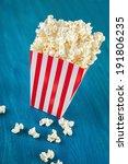 box of popcorn on blue... | Shutterstock . vector #191806235