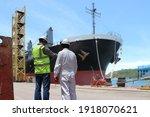 Engineer Workers In Shipyard...