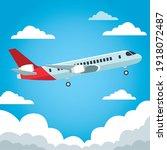 airplane airline flying travel... | Shutterstock .eps vector #1918072487