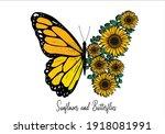 Sunflower Butterfly Hand Drawn...