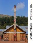 Colorful Totem Pole In Alaska