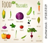 food vegetables doodle set of... | Shutterstock . vector #191815319