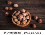 Pile Of Hazelnuts Filbert In A...