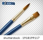 realistic blue paintbrushes on...   Shutterstock .eps vector #1918199117