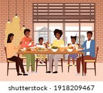 the family dines with healthy... | Shutterstock .eps vector #1918209467