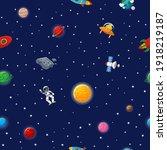 flat cartoon style funny galaxy ... | Shutterstock .eps vector #1918219187