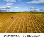 Farmers Works In Field. Tractor ...