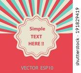 single vintage label on... | Shutterstock .eps vector #191829419