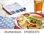 loaded cheeseburger with potato ... | Shutterstock . vector #191832371