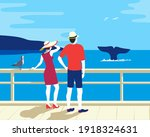 people watching whale tail in... | Shutterstock .eps vector #1918324631