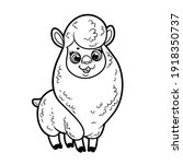 cute cartoon fluffy alpaca... | Shutterstock .eps vector #1918350737