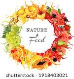 round frame of fresh fruit and...   Shutterstock .eps vector #1918403021