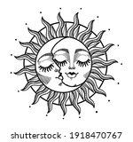heavenly sun and crescent moon...   Shutterstock .eps vector #1918470767