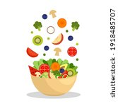vegetables and fruits in bowl... | Shutterstock .eps vector #1918485707
