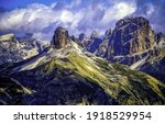 Mountain peaks on cloudy sky background. Mountain peaks view. Mountain peaks landscape. Mountain peaks