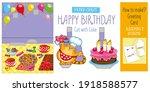 cat and cake. children's art... | Shutterstock .eps vector #1918588577