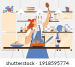 young woman cooking pasta ... | Shutterstock .eps vector #1918595774